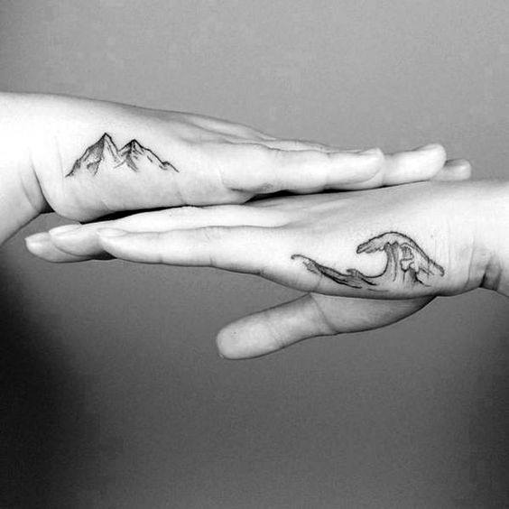 Mountain With Ocean Wave Side Hand Guys Tattoos