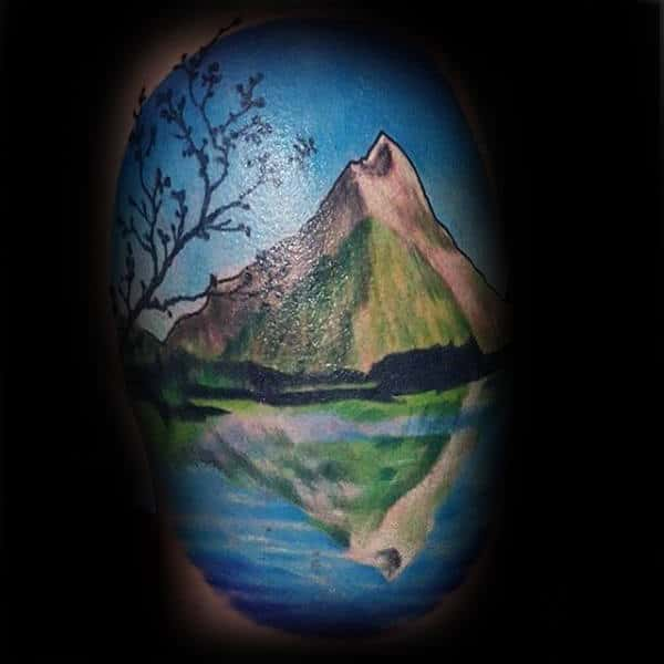 Mountain With Water Reflection Landscape Guys Arm Tattoo Ideas