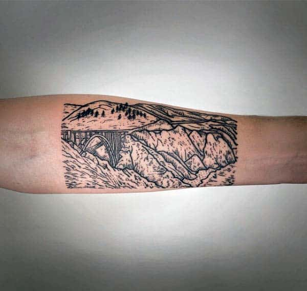 Mountains And Bridge Woodcut Tattoos For Men On Inner Forearm