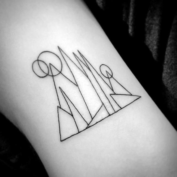 Mountains Geometric Simple Arm Tattoo Ideas For Guys