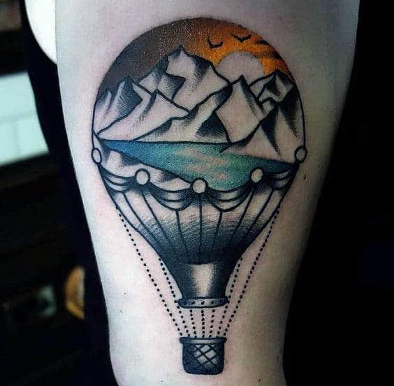 Mountains Hot Air Balloon Mens Arm Tattoo
