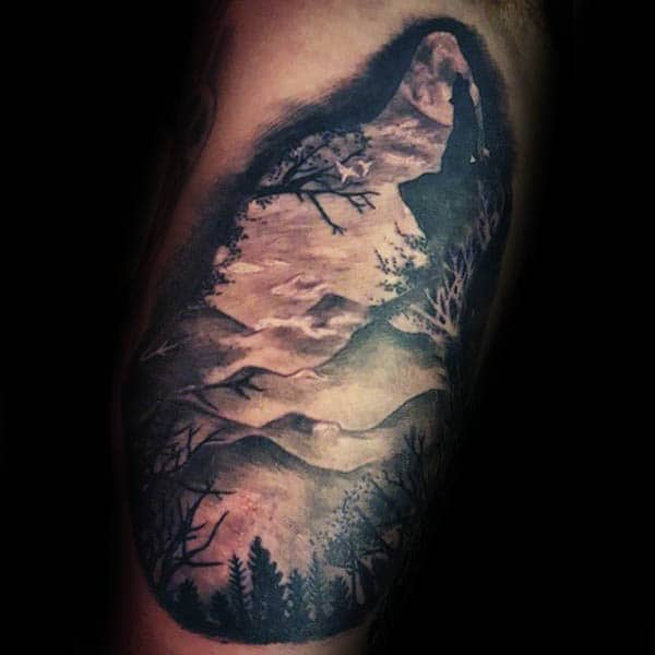 Mountains Silhouette With Trees Guys Arm Tattoos