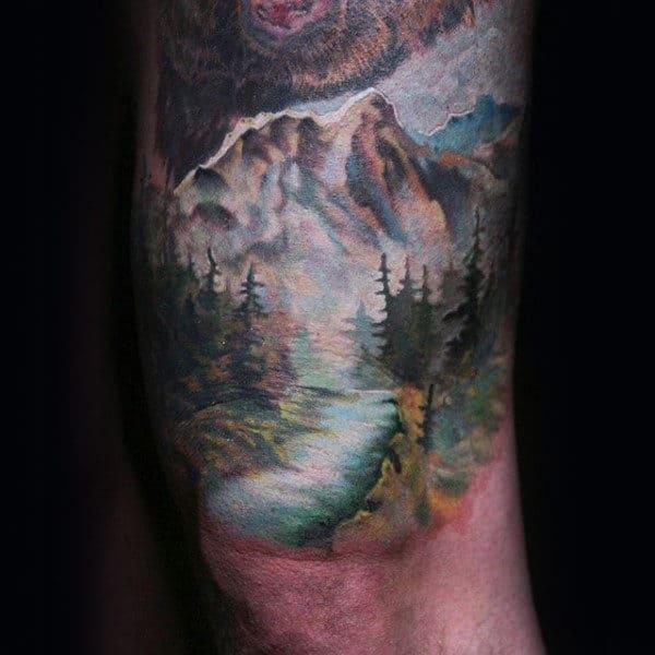 Mountains Tree Sleeve Mens Tattos