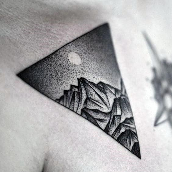 Mountains Triangle Mens Small Pointillism Chest Tattoo