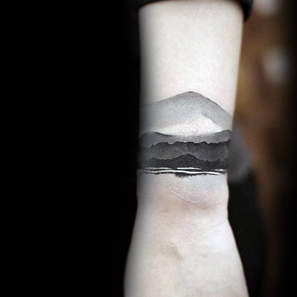 Mountains Watercolor Black And Grey Male Small Unique Wrist Tattoo Ideas