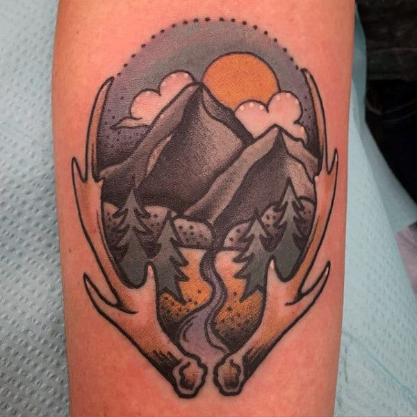 Mountains With Antler Mens Old School Arm Tattoo