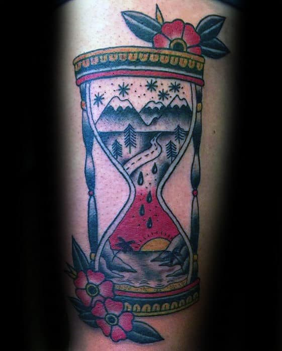 Mountains With Beach Landscape Inside Traditional Hourglass Mens Arm Tattoo