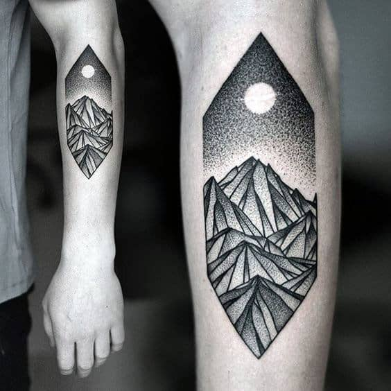 Mountains With Moon Pointillism Mens Forearm Tattoo