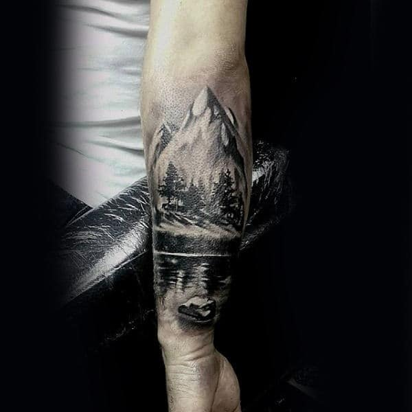 Mountains With River And Trees Guys Inner Forearm Tattoo Ideas