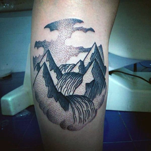 Mountains With River Line Tattoos Ideas For Guys On Arm