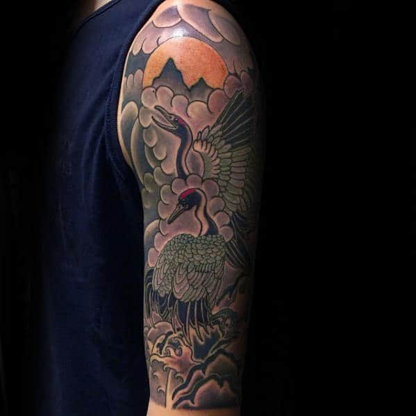 Mountains With Sun And Crane Half Sleeve Mens Japanese Tattoos
