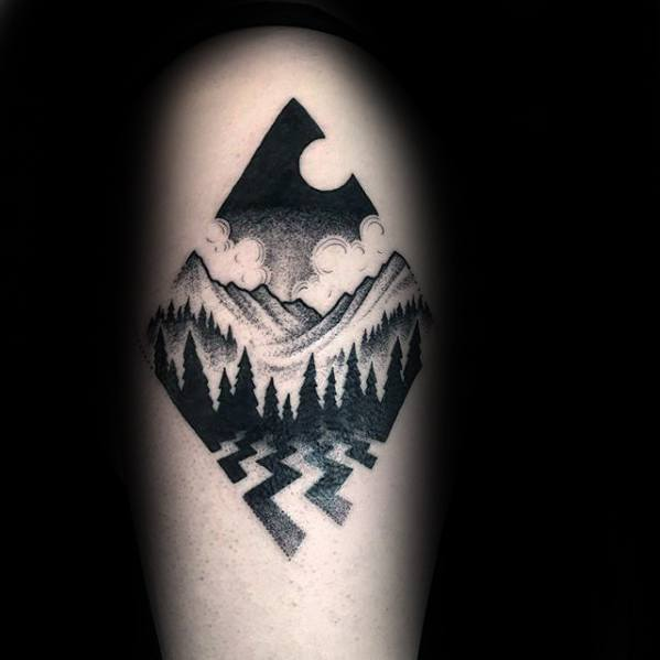 Mountains With Tree Forest Small Geometric Arm Guys Tattoos