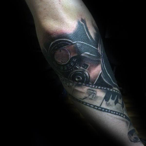 Movie Reels And Camera Tattoo Mens Forearms
