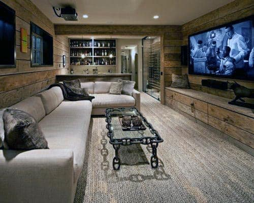 Movie Room Rustic Basement Ideas