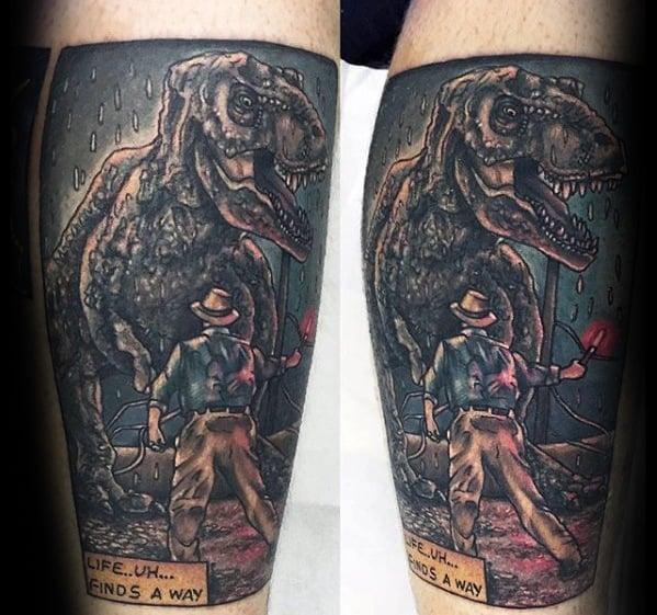 Movie Scene Leg Mens Tattoo Ideas With Jurassic Park Design