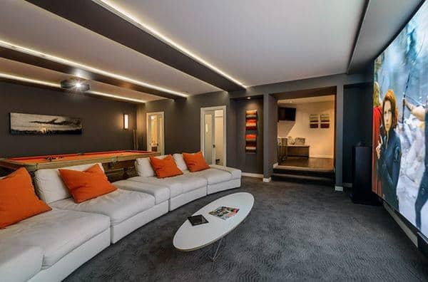 Movie Theatre With Pool Table Game Room Designs In Basement Of Home