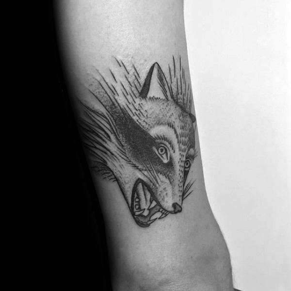 Moving Raccoon Head Guys Tricep Tattoo Designs