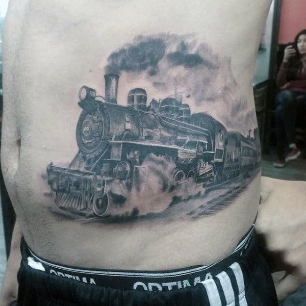 Moving Train Tattoos For Guys On Rib Cage Side