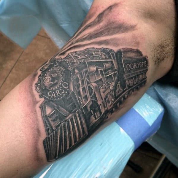 Moving Train Tattoos For Men On Arm
