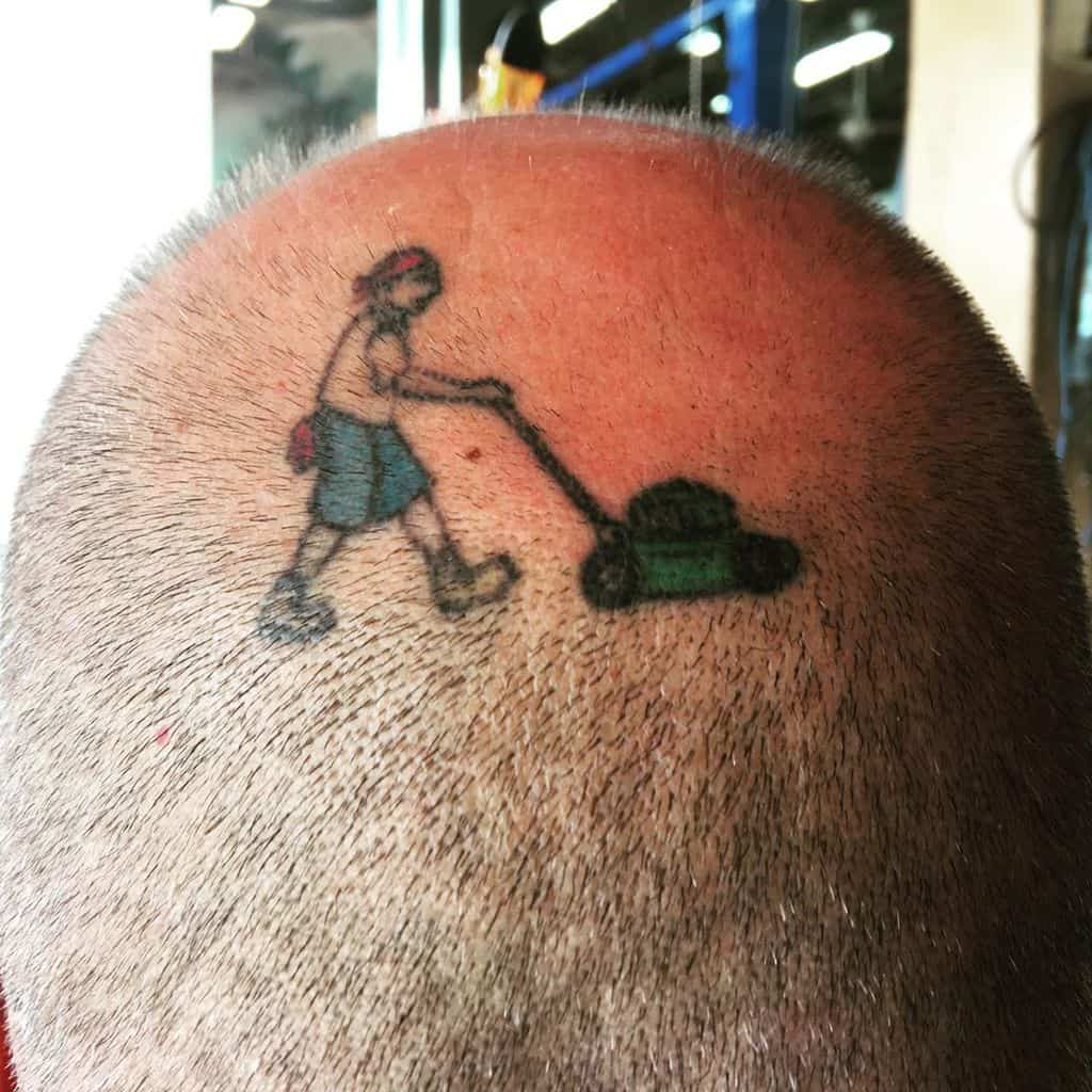 Mowing The Lawn Funny Tattoo