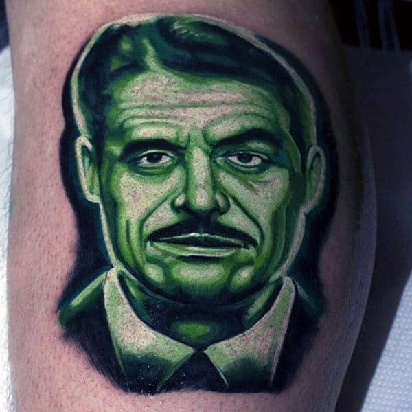 Mr House Bethesa Fallout Video Game Green Ink Shaded Thigh Tattoos
