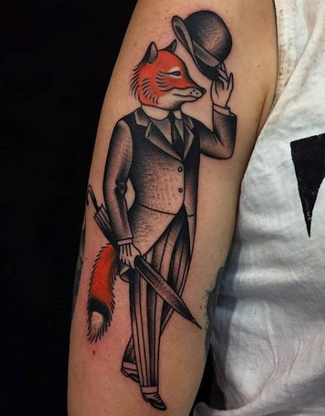 Mr.cool Fox Tattoo With Hat And Umbrella Mens Arms
