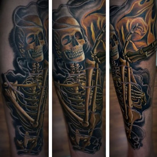 Skeleton Praying Hands Men's Tattoo