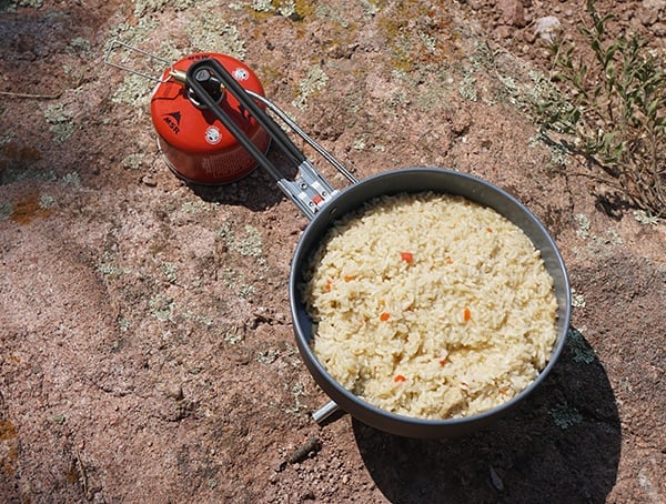 Msr Windburner Skillet With Cooked Chicken And Rice
