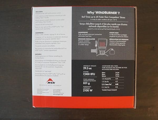 Msr Windburner Stove System Combo Side Of Box