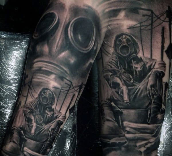 Mua Gas Mask Tattoo On Man With Doomsday Theme