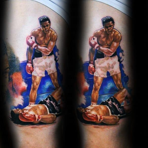 Muhammad Ali Guys Thigh Tattoo Designs