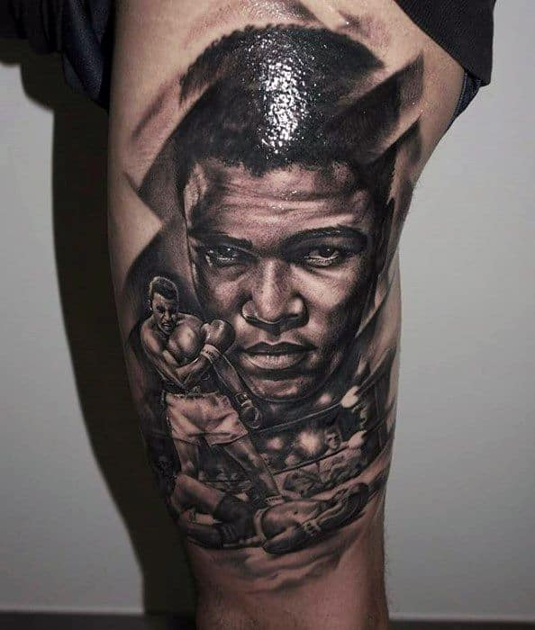 Muhammad Ali Thigh Male Tattoos
