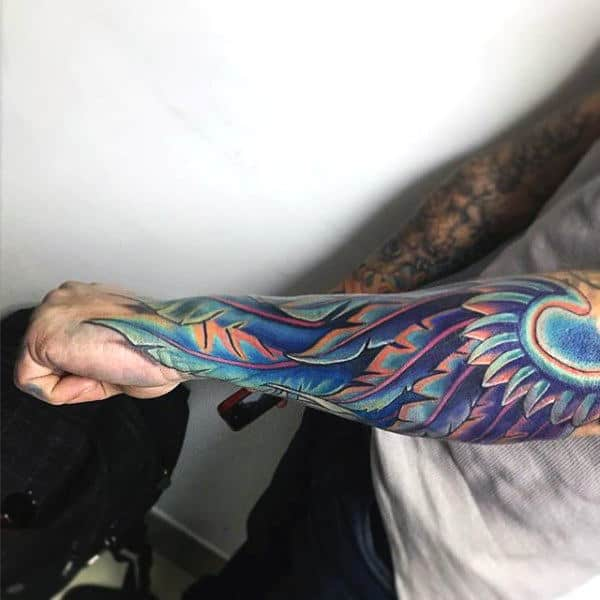 Multi Color Cool Mens Angel Wing Wrist Tattoos