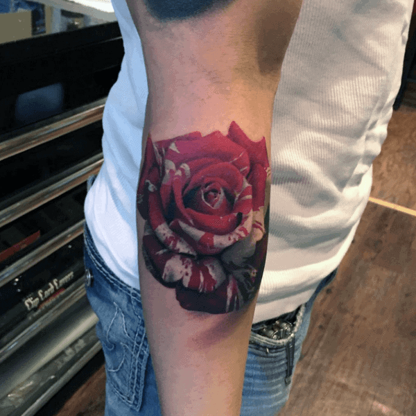 Multi-Color Rose Flower Tattoo Ideas For Men