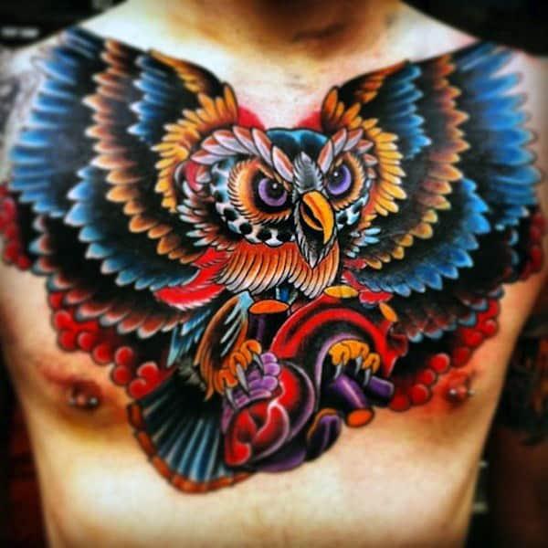 Multi Color Tattoos Men's Owls