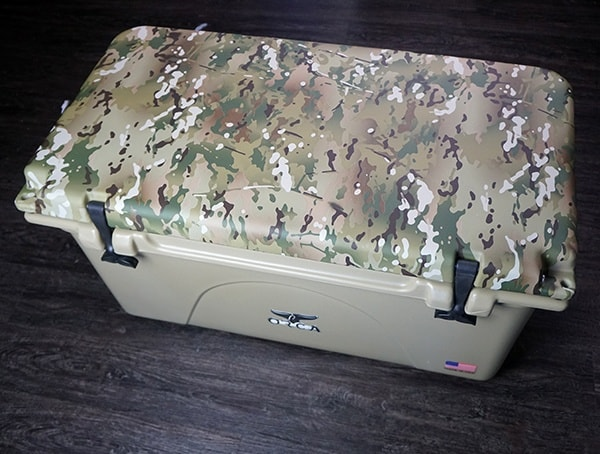 Multicam Camo Lid Tan 75 Quart Orca Cooler