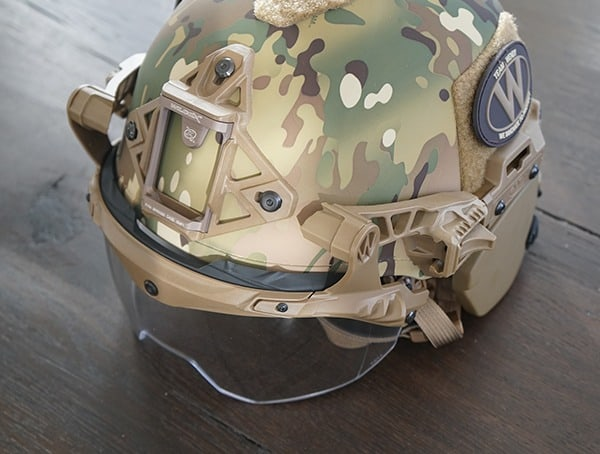 Multicam Team Wendy Exfil Sl Helmet With Visor And Ballistic Ear Covers Installed