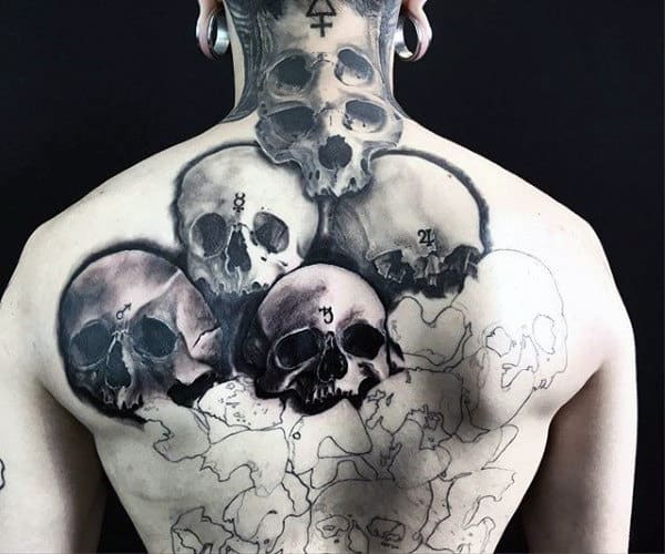 Multiple Skulls Mens Creative Full Back Tattoo Ideas