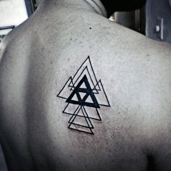 Multiple Triangle Tattoo On Back For Men
