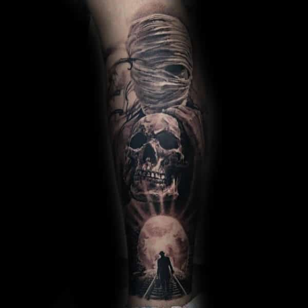 Mummy Inner Forearm Afterlife Mens Themed Tattoo Design Ideas