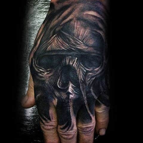 Mummy Skull Mens Hand Tattoo