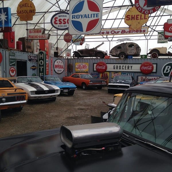 Muscle Car Mens Dream Garage With Vintage Automotive Signs