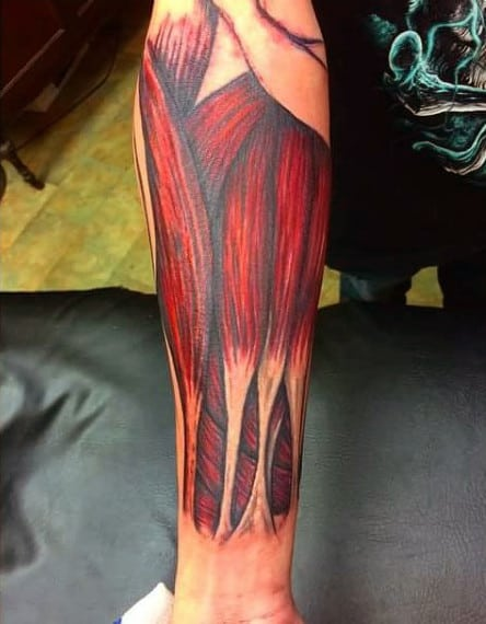 Muscle Fiber Guys Forearm Sleeve Tattoo Inspiration