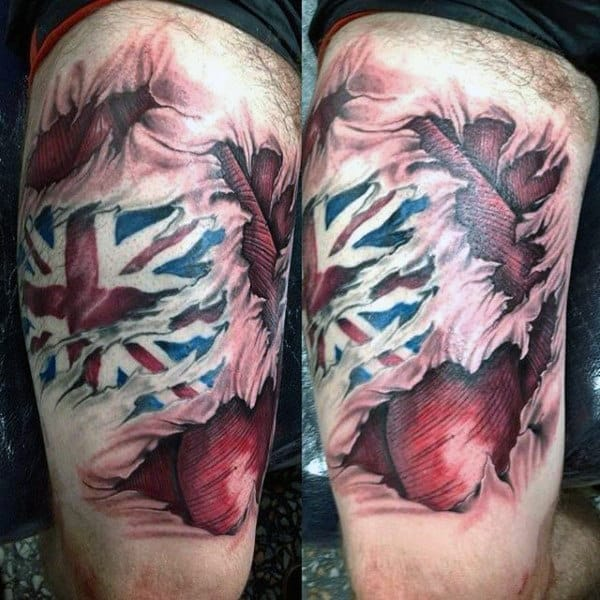 Muscle With United Kingdom Flag Tattoo On Mans Leg Calves