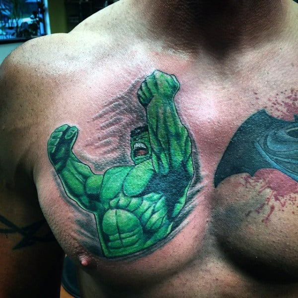 Muscular Arms Hulk Tattoo Male Chest