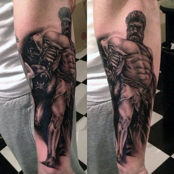Muscular Hercules Mens Inner Forearm Tattoo Designs