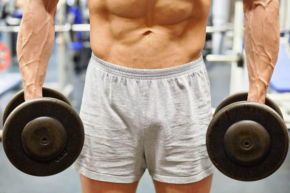 muscular torso and hands with dumbells of man in gym