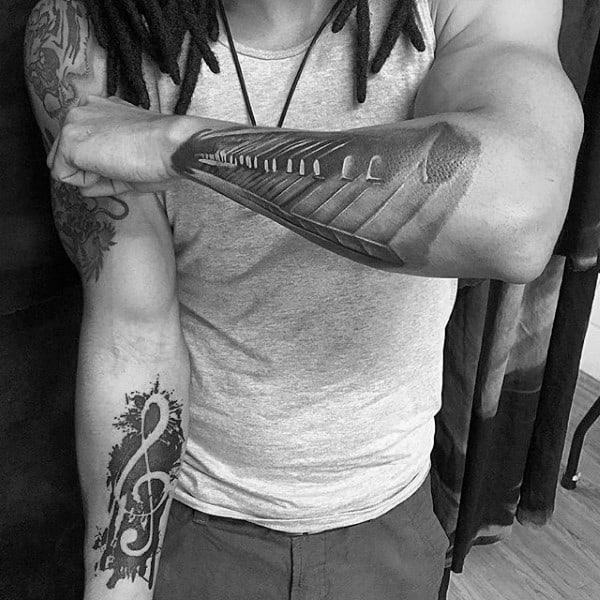 Music Mens Outer Forearm Piano Key Tattoo Design