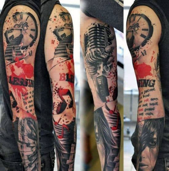 Music Note Guys Trash Polka Full Sleeve Tattoo Design