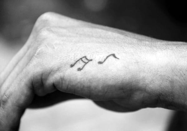 Music Notes Simple Hand Tattoos For Gentlemen